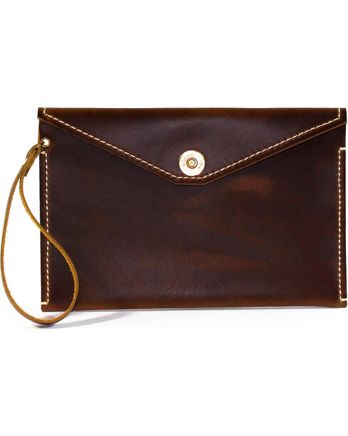 SouthLife Supply Women's Paxton Aged Bourbon Envelope Clutch, Brown, hi-res