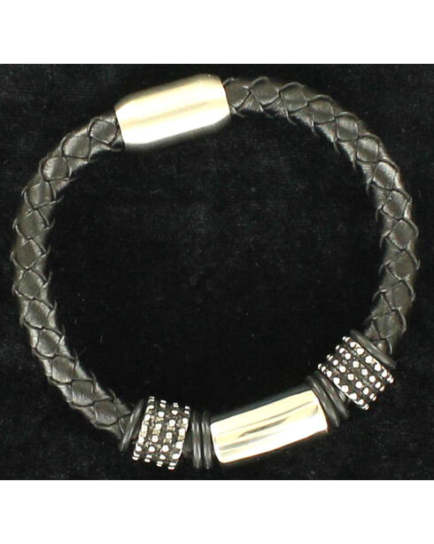 Twister Men's Large Braided Bracelet , Black, hi-res
