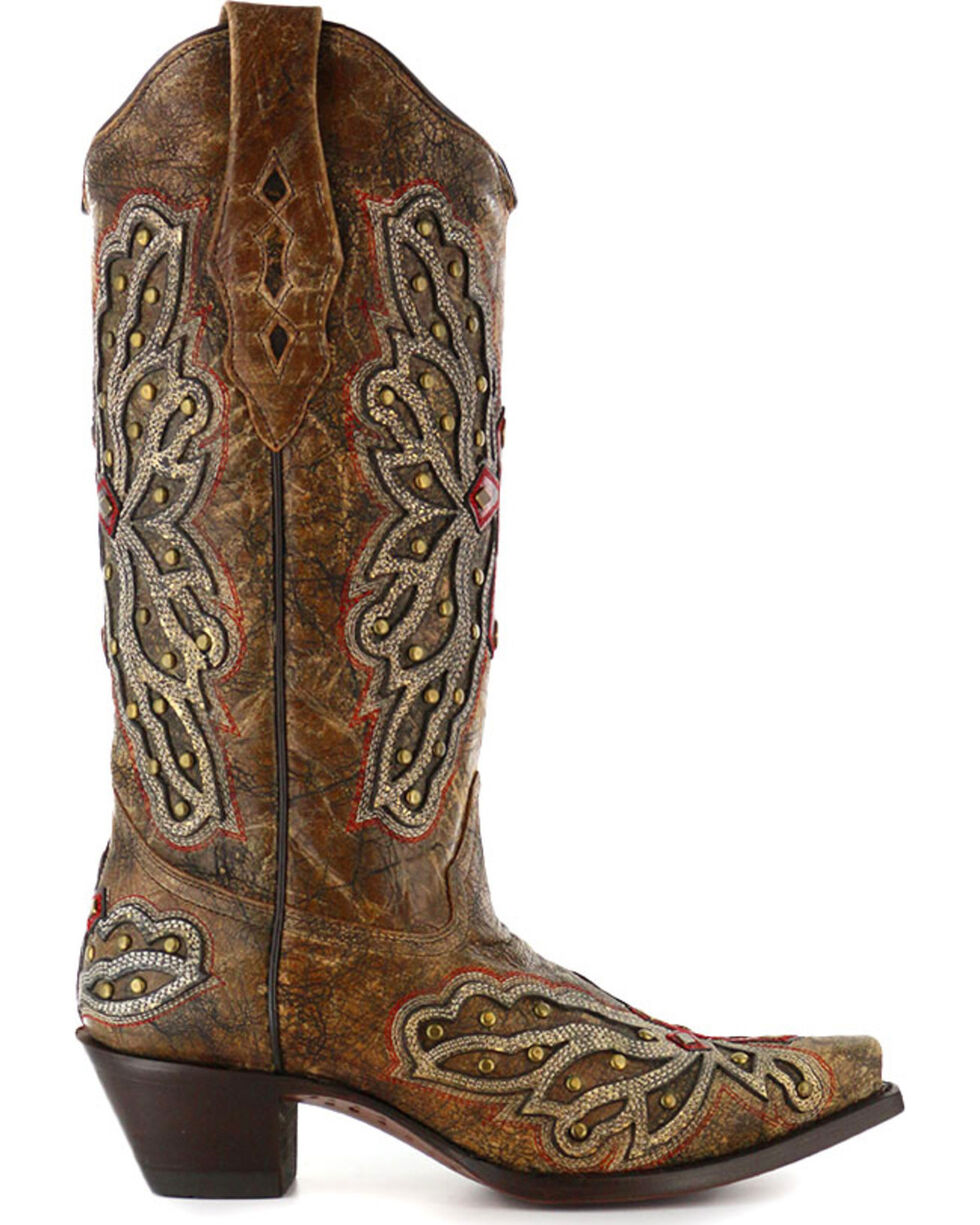 Corral Women's Wing and Cross Inlay Western Boots, , hi-res