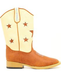Double Barrel Boys' Lone Star Side Zipper Cowboy Boots - Square Toe, , hi-res