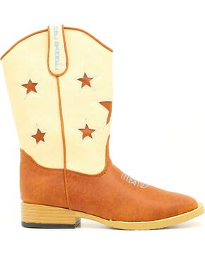 Double Barrel Boys' Lone Star Side Zipper Cowboy Boots - Square Toe, Brown, hi-res