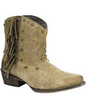 Roper Women's Sassy Fringe Ankle Western Boots, Tan, hi-res