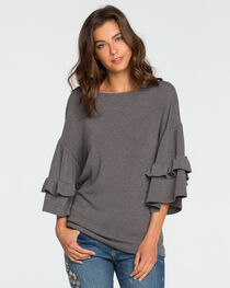Miss Me Women's Grey Tier It Up Top , , hi-res