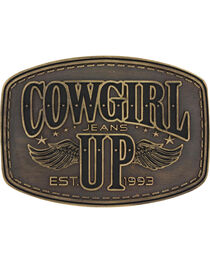 Montana Silversmiths Women's Brass Cowgirl Up Wings Belt Buckle , , hi-res