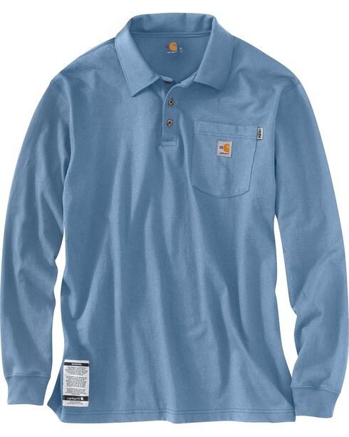 Carhartt Men's Long Sleeve Flame Resistant Force Polo, Blue, hi-res