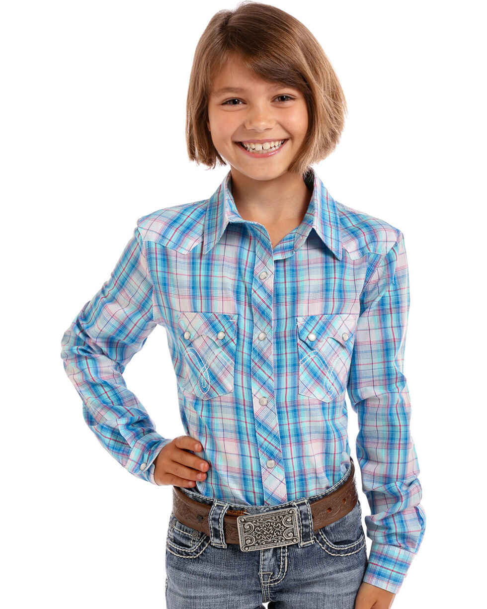Panhandle Girls' Turquoise Plaid Lurex Long Sleeve Snap Shirt, Turquoise, hi-res