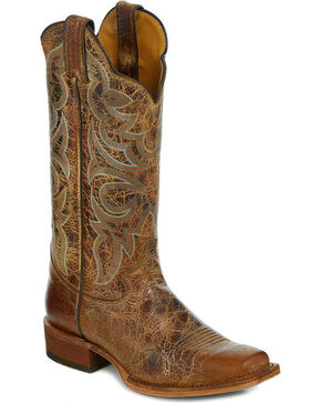 Justin Bent Rail Women's Katia Tan Distressed Cowgirl Boots - Square Toe, Tan, hi-res