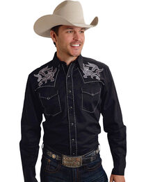 Roper Old West Collection Black Embroidered Long Sleeve Western Shirt, , hi-res