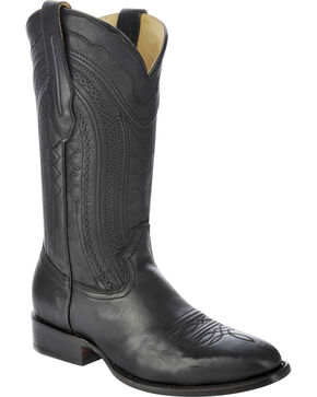 Corral Men's Burnished Leather Square Toe Western Boots, Black, hi-res