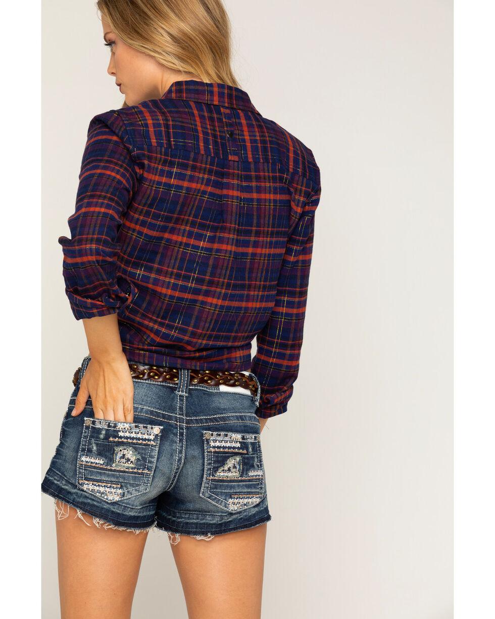 Shyanne® Women's Lurex Cropped Plaid Flannel, Navy, hi-res
