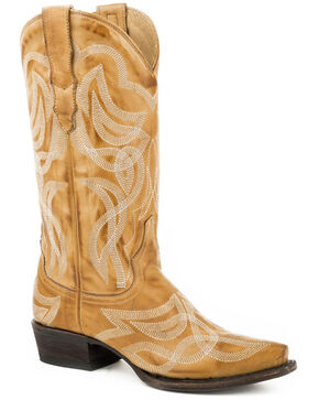 Stetson Women's Tan Reese Vintage Boots - Snip Toe , Tan, hi-res