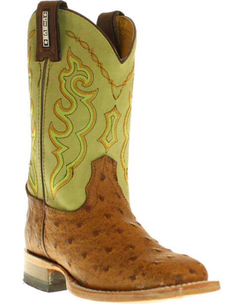 Cinch Boys' Full Quill Ostrich Print Boots - Square Toe, Brandy, hi-res