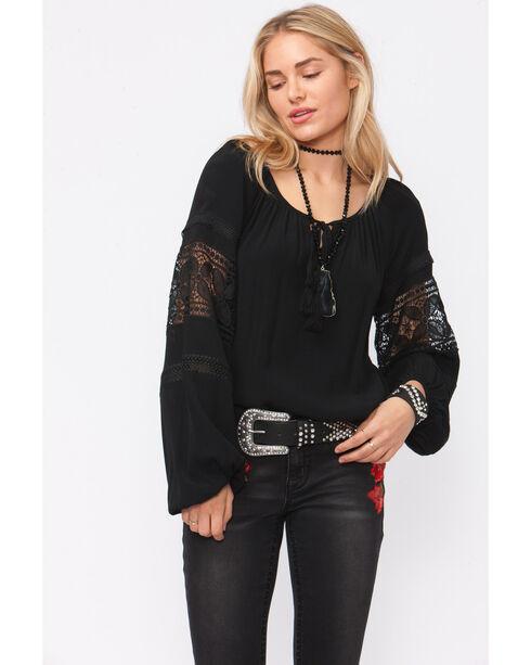 Shyanne Women's Black Peasant Crochet Inset Long Sleeve Shirt , Black, hi-res