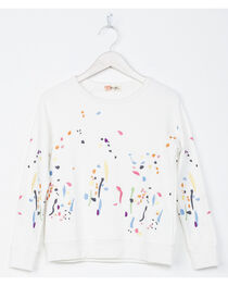 Miss Me Girls' White Paint Splatter Sweatshirt , , hi-res