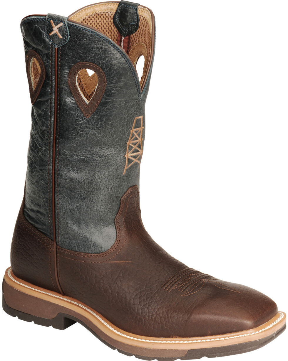 Twisted X Men's Square Steel Toe Lite Weight Work Boots, Cognac, hi-res