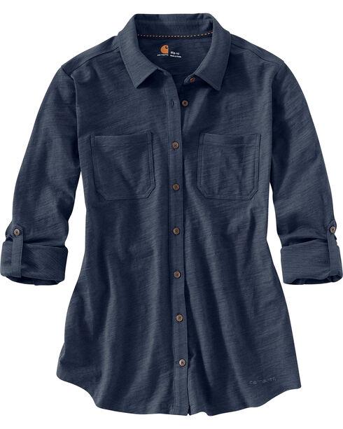 Carhartt Women's Long Sleeve Medina Shirt, Navy, hi-res
