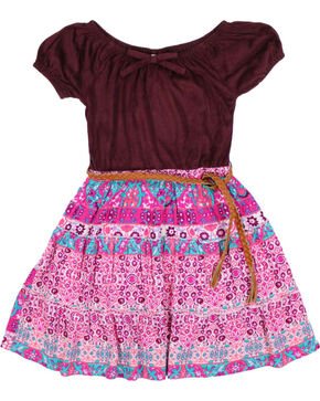 Shyanne® Girls' Mixed Pattern Dress, Burgundy, hi-res