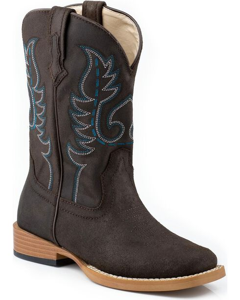Roper Youth Western Boots, Dark Brown, hi-res