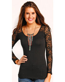 Panhandle Women's Lace Sleeve T-Shirt , , hi-res