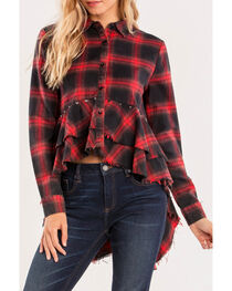 Miss Me Women's Red Rebel With A Cause Top , , hi-res