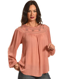 New Direction Women's Bead Embroidered Long Sleeve Top, , hi-res
