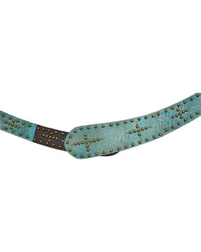 Angel Ranch Women's Turquoise Croco Studs Western Belt , Turquoise, hi-res