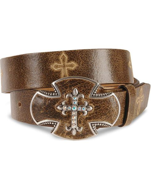Justin Bent Rail Distressed Leather Belt, Brown, hi-res