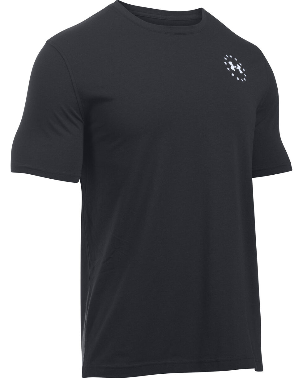 Under Armour Men's UA Freedom Flag Black/White Short Sleeve T-Shirt, Black, hi-res