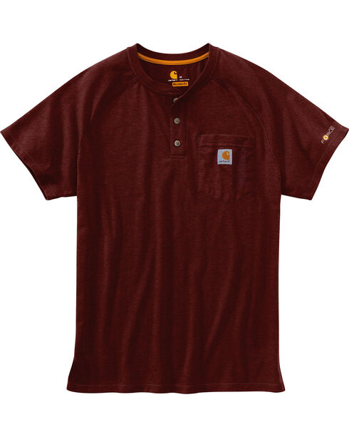 Carhartt Force Men's Cotton Delmont Short-Sleeve Henley, Cognac, hi-res