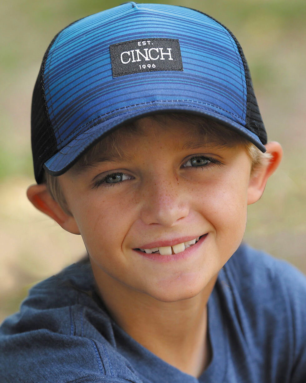 Cinch Boys' Blue Ombre Striped Ball Cap, Black, hi-res