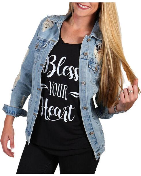 Boom Boom Jeans Women's Distressed Denim Jacket , Blue, hi-res