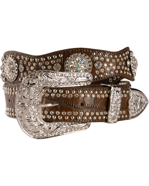 Nocona Women's Studded Rhinestone Concho Belt, Brown, hi-res