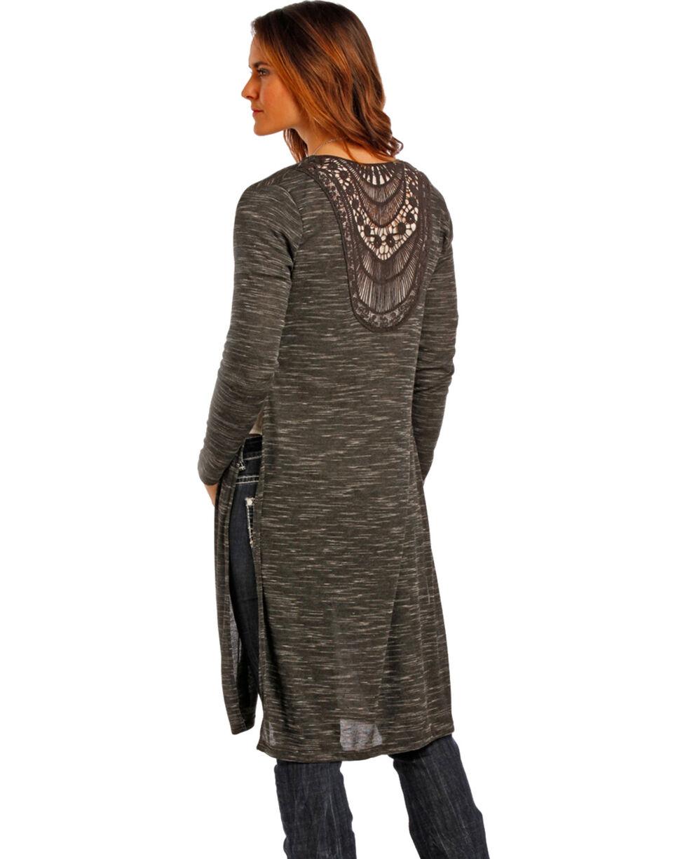 Panhandle Slim Women's Charcoal Venise Lace Cardigan , , hi-res