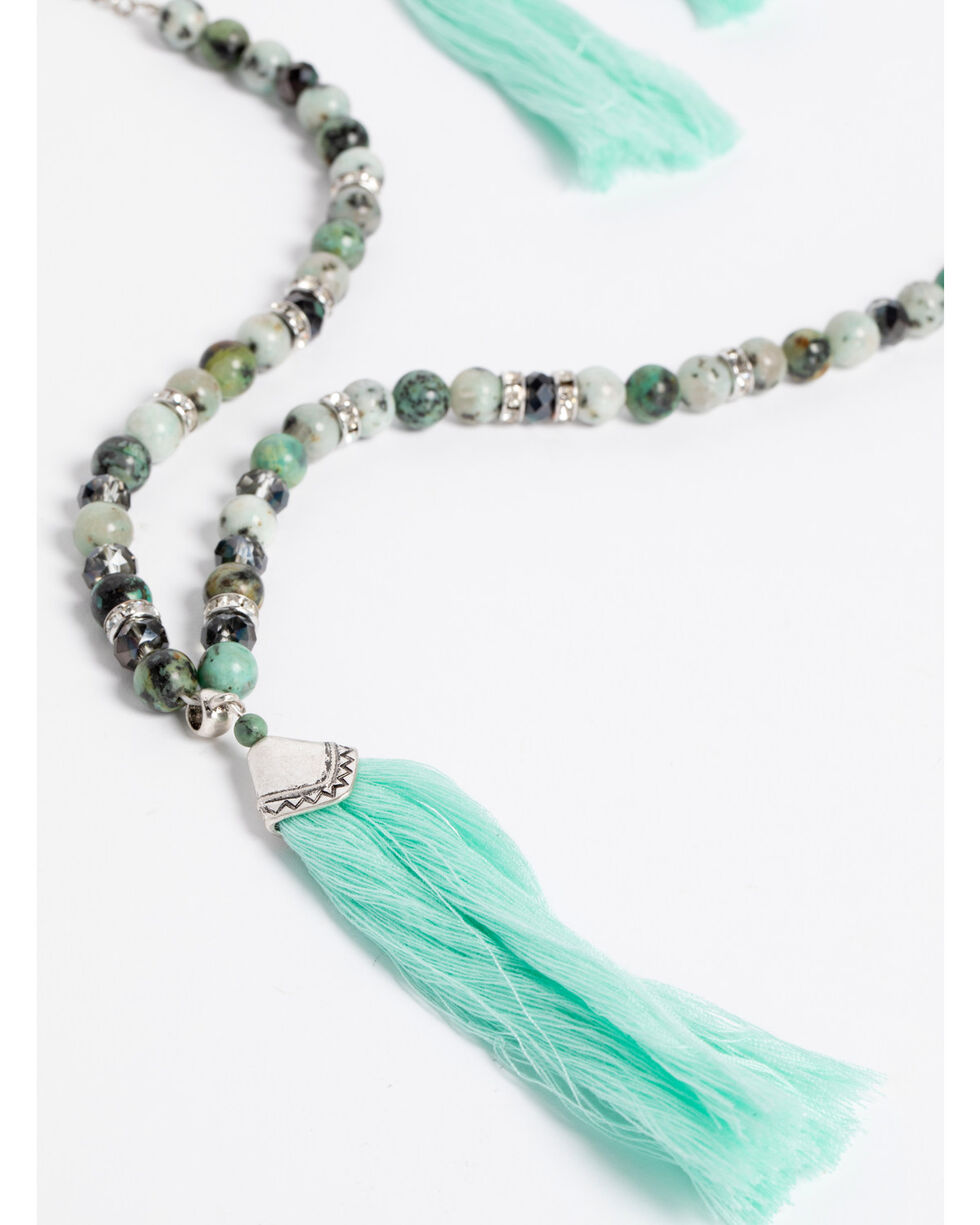 Shyanne Women's Jade Sea Beaded Tassel Jewelry Set, Silver, hi-res