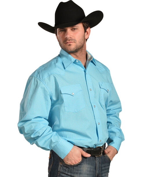 Stetson Men's Blue This And That Print Shirt , Blue, hi-res