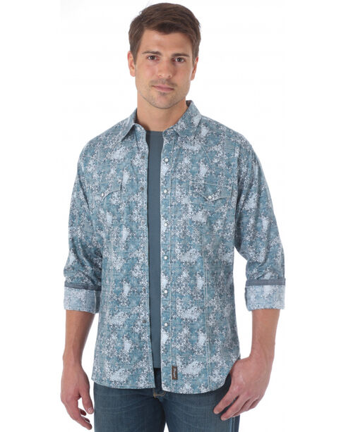 Wrangler Men's Printed Western Long Sleeve Shirt, Grey, hi-res