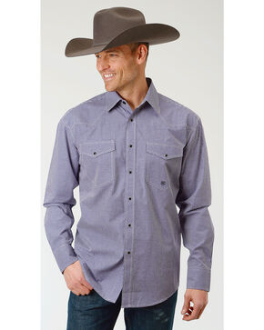 Roper Men's Gingham Check Long Sleeve Snap Shirt - Big & Tall, Purple, hi-res