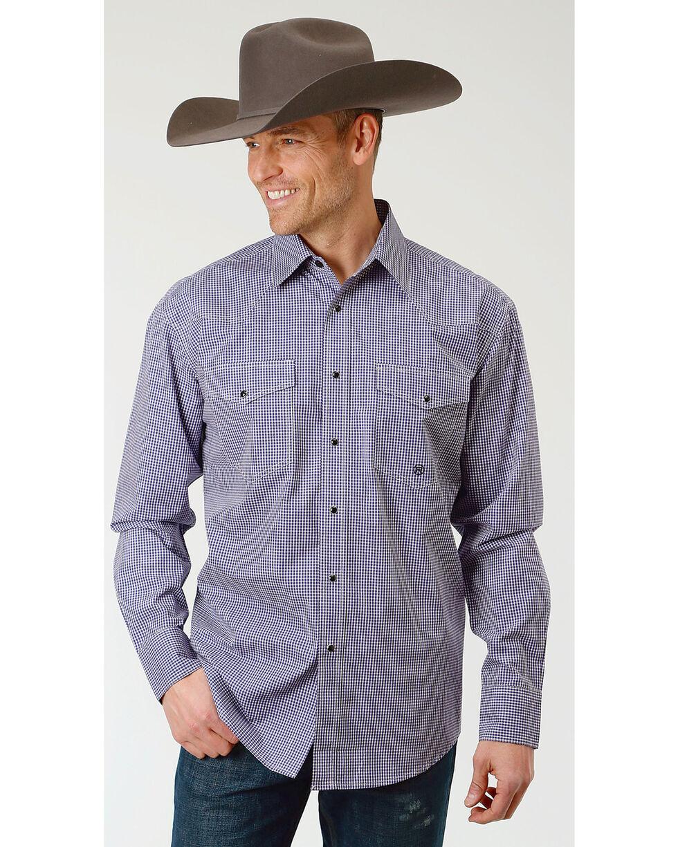 Roper Men's Gingham Check Long Sleeve Snap Shirt - Big & Tall, Purple, hi-res