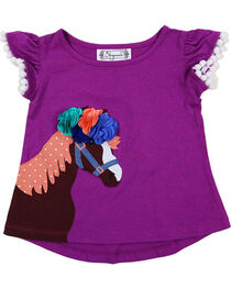 Shyanne Girl's Horse Applique with Pom Poms T-Shirt, Purple, hi-res