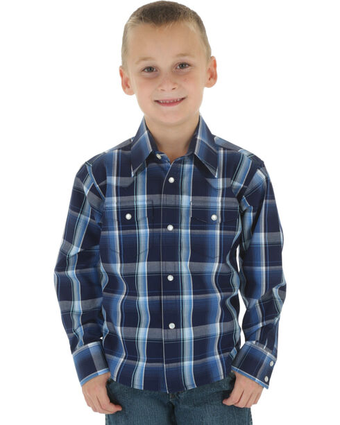 Wrangler Boys' Navy & Black Plaid Wrinkle Resist Western Shirt, Navy, hi-res