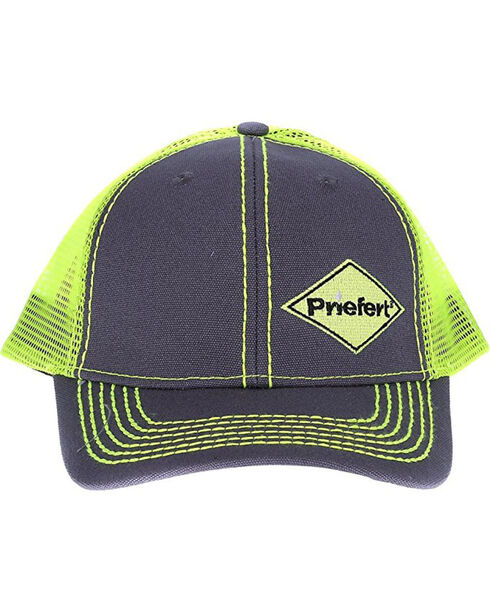 Priefert Men's Grey with Lime Green Accents Baseball Cap , Bright Green, hi-res