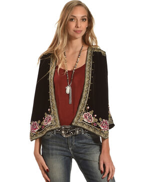 Johnny Was Women's Black Leith Velvet Bolero , Black, hi-res