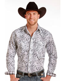 Rough Stock by Panhandle Men's Bardalona Distressed Antique Print Snap Shirt, , hi-res