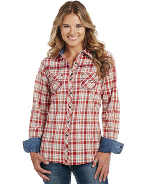 Cowgirl Up Plaid Long Sleeve Snap Shirt, Red, hi-res