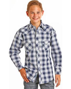 Rock & Roll Cowboy Boys' Blue Plaid Long Sleeve Snap Shirt, Blue, hi-res