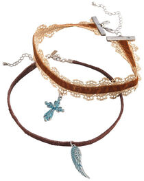 Shyanne Women's Cross and Wing Choker Set, , hi-res