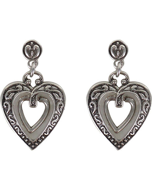 Shyanne® Women's Engraved Heart Earrings, Silver, hi-res