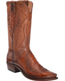 Lucchese Men's Bryson Peanut Caiman Inlay Western Boots - Snip Toe , , hi-res