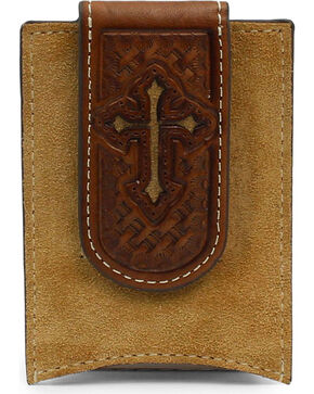 Nocona Men's Rough Out With Cross Money Clip, Medium Brown, hi-res