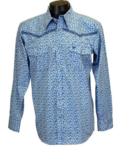Cowboy Hardware Men's Paisley and Diamond Stitched Long Sleeve Shirt, Blue, hi-res